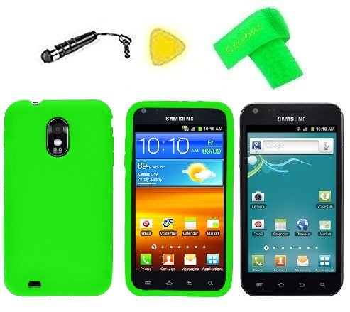 Phone Cover Case Cell Phone Accessory + Extreme Band + Stylus Pen + Lcd Screen Protector + Yellow Pry Tool For Samsung Galaxy S2 S Ii Sch-R760 R760 R760X / Sprint Samsung Epic Touch D710 Sph-D710 / Samsung Within (Silicone Green)