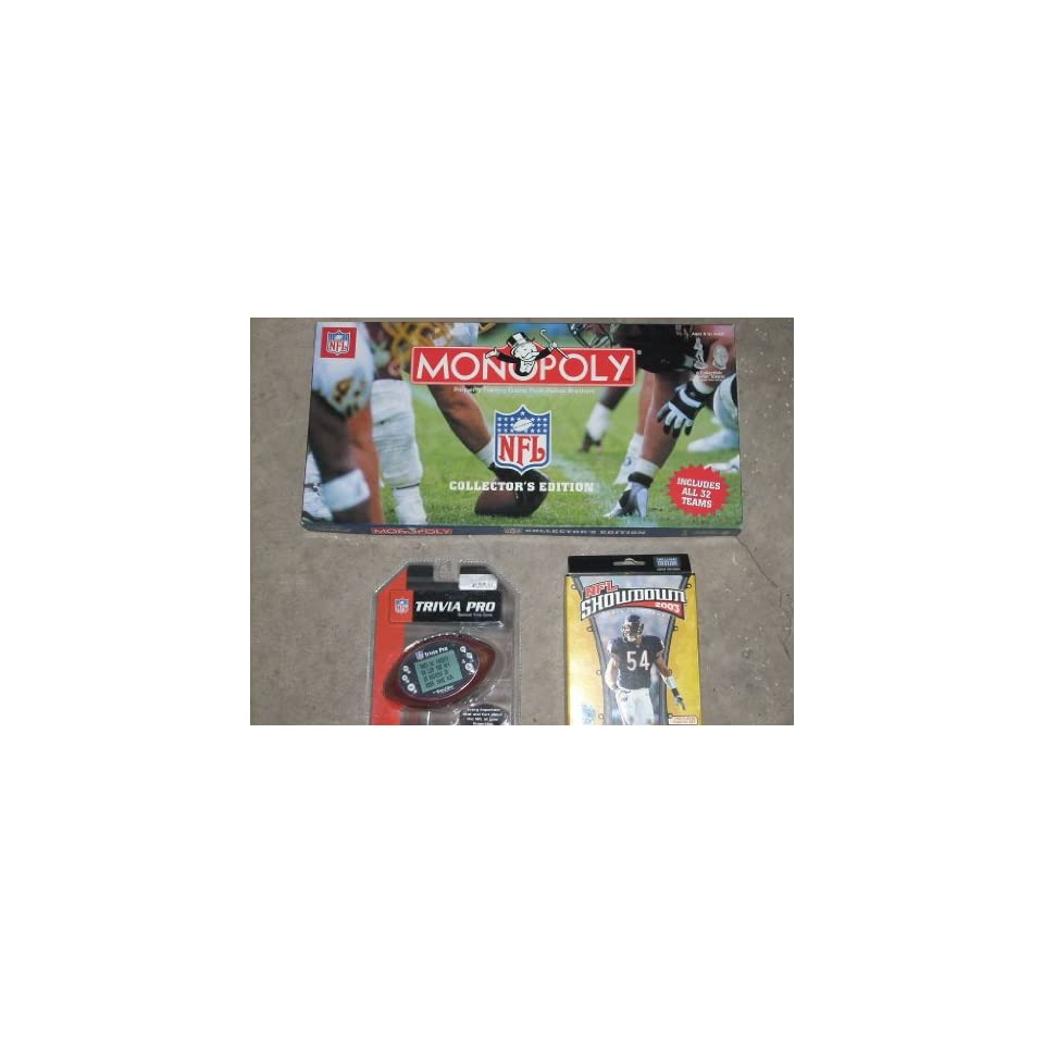 Collection of (3) NFL National Football League MONOPOLY, HANDHELD TRIVIA, and Collector Card Games Includes Monopoly   NFL COLLECTORS EDITION by USAopoly, NFL HANDHELD TRIVIA Game by Excalibur, NFL SHOWDOWN 2003 Card Game. All 3 SHIP TOGETHER FOR COST SA