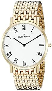 Claude Bernard Men's 20202 37JM BR Gents Slim Line Analog Display Swiss Quartz Gold Watch