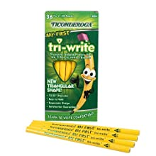 Dixon Ticonderoga My First Tri-Write Triangular #2 Pencils, Primary Size, Without Erasers, Wood-Cased, Black Writing, 36-Count (13084)