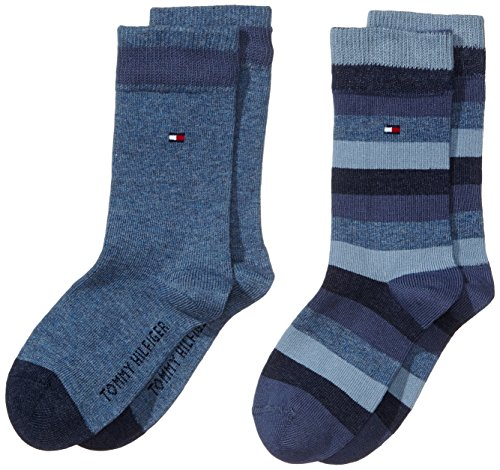 tommy-hilfiger-th-kids-basic-stripe-sock-2p-calze-per-bambini-e-ragazzi-blublau-jeans-356-taglia-pro