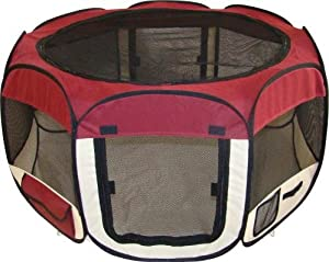 Best Pet Folding Play Pen - M - Burgundy