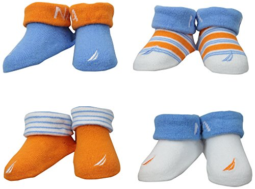 Nautica Baby-Boys Newborn 4 Pack Solid Stripe Bootie, Assorted, 0-6 Months front-1075537