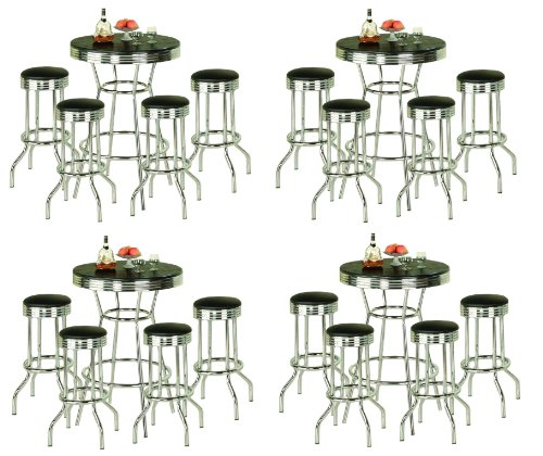 4 Sets of 5 Piece Retro Black Bistro Table & Pub Set with 4 Barstools