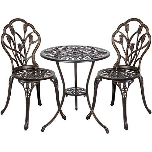 Best Choice Products Outdoor Patio Furniture Tulip Design Cast Aluminum Bistro Set in Antique Copper 1