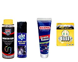 Combo of 4 Items - Moto Lube Radiator Flush 300 ml. & Star Brake Part Cleaner 100 ml. & Waxpol Scratch Remover 150 gr. & Auto Pearl Tyre Air Alert