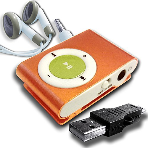 Orange Mini Clip Mp3 Player W/ Gold Button Usb Combo Kit: Usb Adapter & Drum Style Earphones With White Noise-Block Comfort Boots - Same Day Processing W/ Usps First-Class