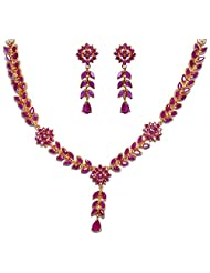 Gehna Ruby Stone Studded Flower Style Necklace & Earrings Set. Yellow Gold Rhodium