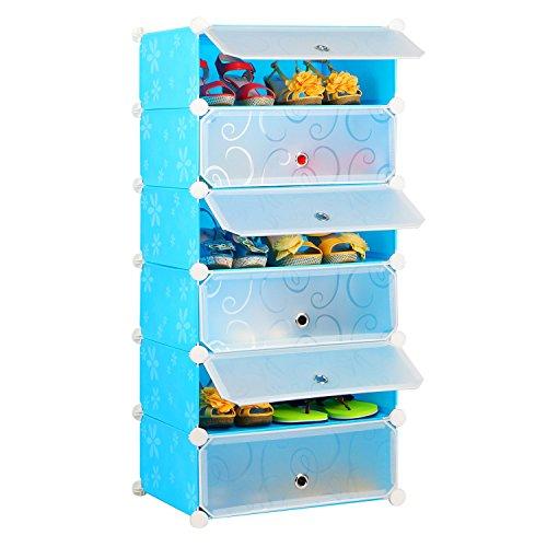 Leapair 6 Tiers DIY Resin Shoe Rack Storage Organizer Blue Short 2 Door Cabinet