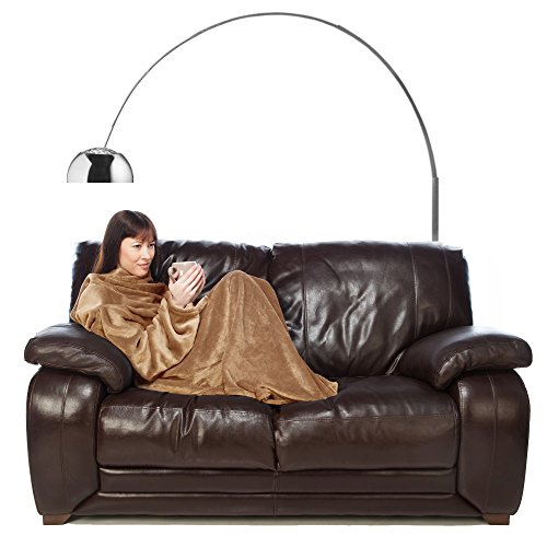 Snuggie Fleece Blanket with Sleeves Adult Throw for Women and Men Beige Latte Colour (Adult Hooded Blanket compare prices)