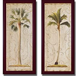 Palm Swirls I & II by Elizabeth Medley 2-pc Premium Contemporary-Mahogany Framed Canvas Set (Ready-to-Hang)