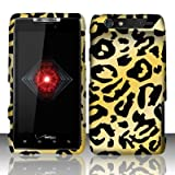 Motorola Droid Razr xt912 Accessory - Golden Cheetah Spot Design Protective Hard Case Cover for Verizon + 4.5 INCHES Screen/Lens Cleaning Cloth