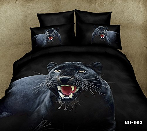 Queen King Size 100% Cotton 7-Pieces 3D Black Leopard Animal Prints Fitted Sheet Set With Rubber Around Duvet Cover Set/Bed Linens/Bed Sheet Sets/Bedclothes/Bedding Sets/Bed Sets/Bed Covers/ Comforters Sets Bed In A Bag (King) front-862028