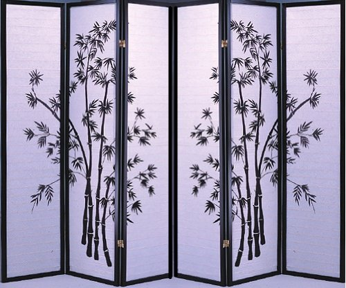 4 Panel Black Bamboo Print Oriental Shoji Screen / Room Divider (6 Panel) front-703953
