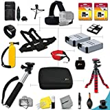 """Pro 29 Piece Accessory Kit for GoPro Hero3+, GoPro Hero3, GoPro Hero2, GoPro HD Motorsports HERO, GoPro Surf Hero, GoPro Hero Naked, GoPro Hero 960, GoPro Hero HD 1080p, GoPro Hero2 Outdoor Edition Digital Cameras Includes Head Strap Mount, Chest Strap Mount, Hand Held Monopod, 24GB High Speed Memory Cards, 12"""" inch Flexible Tripod, Floating Bobber Handle, 2 AHDBT-301 Batteries, AC/DC Quick Charger, Custom Large size Case + Floating Foam Strap + Remote Wrist Strap + Universal Card Reader + Mini Table Tripod + Ultra Fine HeroFiber Cleaning Cloth"""