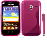S-Line Gel Shell Case Cover And Screen Guard And Large Universal Capacitive Touchscreen Stylus Pen For Samsung Galaxy Ace Plus S7500 / Pink