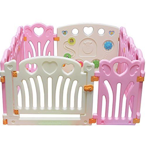 Kiddygem Angel Wings and Hearts Baby 10 Panels Playpen, Pink