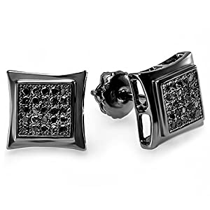 0.15 Carat (ctw) Sterling Silver Black Real Diamond Kite Shape Mens Hip Hop Iced Stud Earrings