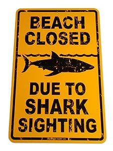 Shark Sighting Aluminum Sign in Yellow SF92