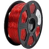 YOYI 3D PETG 1KG 1.75mm Transparent Red PETG 3D Printer Filament, Diameter Tolerance +/- 0.05 mm, 1 KG Spool, 1.75 mm, Transparent Red
