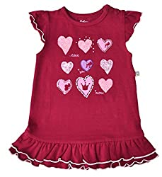 Babeez Baby Girl All over printed Dress with fringes at the bottom hem & print at the front (95% Cotton 5% Elasthan) to fit height 80 - 86cms