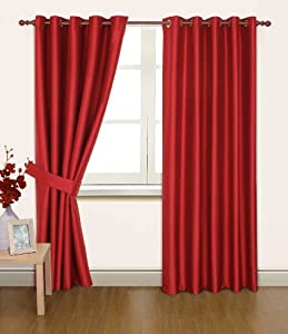 Red Faux Silk 90x72 Thermal Lined Blackout Heavyweight Ring Top Curtains from PCJ Supplies