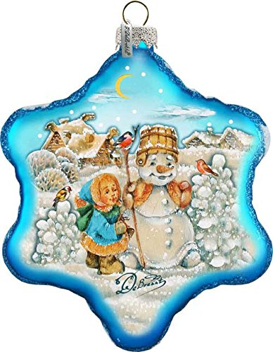 """Child Playing With Snowman Friend 6"""" Led Light Glass Starflake; Handcrafted Old World Christmas Gallery Collection For The Tree."""