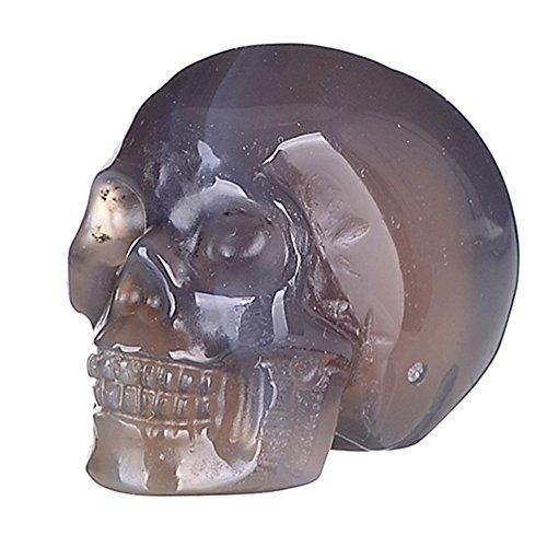 """Mineralbiz 1.5"""" Natural Grey Agate Carved Crystal Skull, Human Skull Head, Skull Carving, Pocket Skull, Healing Reiki"""