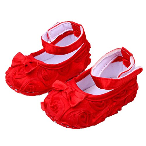 Cute Baby Girl Crib Shoes Comfortable Soft Sole Anti-Slip Sandal Princess Rose Flower Infant Toddler Shoes Red - 1