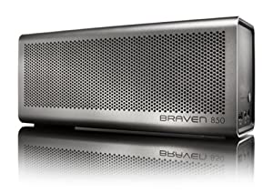 Incipio Technologies Braven 850 Portable Wireless Speaker, Silver Aluminum Finish with Black End Caps (B850SBA)