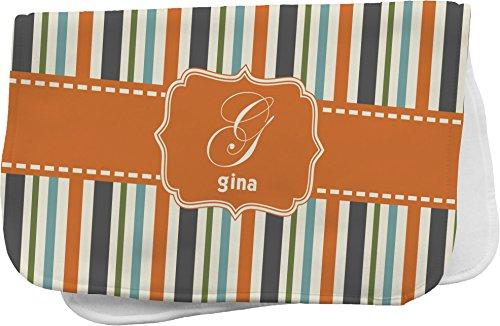 Orange & Blue Stripes Personalized Burp Pad front-808556