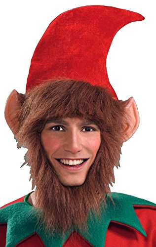 Forum Novelties Men's Costume Elf Hat with Ears Hair and Beard, Multi, One Size - 1