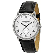 Frederique Constant Slim Line Silver Dial Black Leather Mens Watch FC-245M4S6