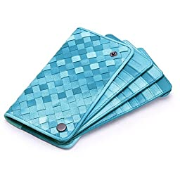Jiame Leather Weave Card Case (Light blue)