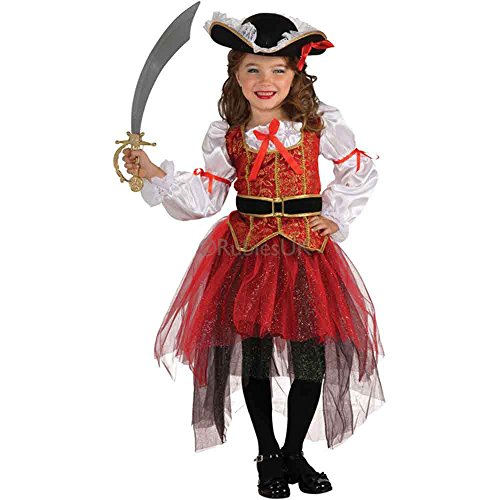 Girls' Halloween Pirates and Princess Cosplay Dress Kids Stage Show Costume Bowknot Pettiskirt (Little Girls Pirate Costume)