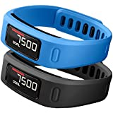 SKYLET Garmin Vivofit Replacement Bands With Metal Clasp 2 Secure Silicon Fastener Rings For Free No Tracker Black...