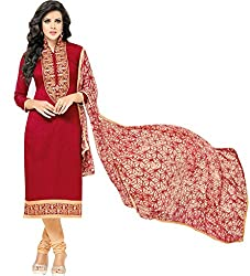 ShivFab Present All New Formal Wear Embroidered Red Color Dress Meterial.(COTTON DRESS) ANGROOP DAIRYMILK VOL_10