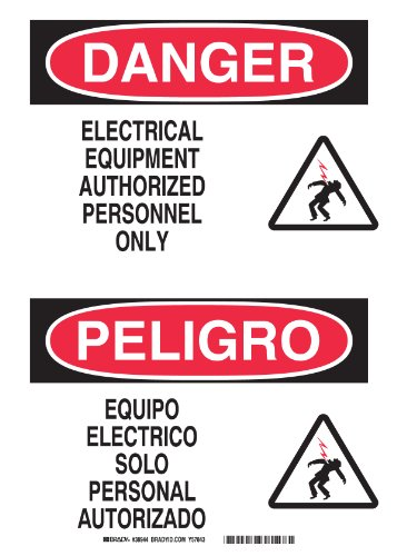 "Brady 38944 Plastic, 10"" X 14"" Danger/Peligro Sign Legend, ""Electrical Equipment Authorized Personnel Only/Equipo Electrico Solo Personal Autorizado"""