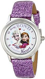 "Disney Kids' W000972 ""Frozen Tween Anna Snow Queen Elsa"" Stainless Steel Watch with Purple Band"