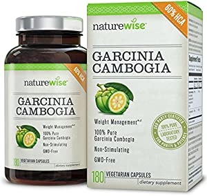 NatureWise Garcinia Cambogia Extract Natural Appetite Suppressant and Weight Loss Supplement, 180 Count, 500mg (packaging may vary)