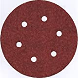 Bosch SR6R000 6-Inch Hook & Loop Sanding Disc, 6-Hole, Red, 60/120/240 Assorted Grits, 6 Pack