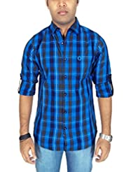 Southbay Men's Blue Cotton Twill Long Sleeve Herringbone Checkered Casual Shirt