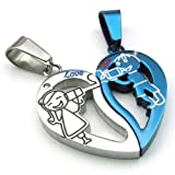 Konov Jewellery 2pcs Lovers Men's Women's Heart Stainless Steel Pendant Love Necklace Set, Couples Valentine's Gift for Him and Her, Colour Blue Silver, with 2pcs Chain 18 inch and 22 inch (with Gift Bag)