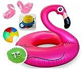 【ELEEJE】 フラミンゴ フロート 巨大浮き輪 夏休み ! 海水浴 に プール に 川遊び ! 夏 の レジャー アイテム が ぜ?んぶ 揃った お買い得 な セット ( 面白く て ユニーク な , 赤い鳥 フラミンゴ うきわ 、 耳栓 、 鼻栓 、 空気入れ 、 ビーチボール 、 フラミンゴコースター 2個 セット )