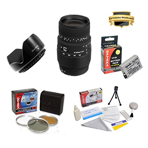 Sigma 70-300Mm F/4-5.6 Dg Macro Telephoto Zoom Lens For Specific For The Canon Eos Rebel T2I T3I T4I T5I 550D 600D 650D 700D Kiss X4 X5 X6 X6I X7I Dslr Digital Camera With Super Saver Accessory Package Kit Includes High Resolution 3 Piece Filter Kit, Flow