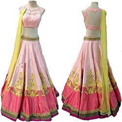 Rozdeal Fancy Pink And Yellow Party Wear Lehenga Choli