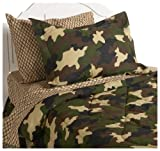 InStyle Home Collection Camouflage Twin Bedding Ensemble, Brown
