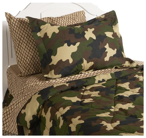 Kids Brown and Ensemble Twin Size Camouflage Bedding