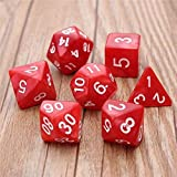 Niome Dice Sets, 7 Full Sets Polyhedral Dice Sets with Drawstring Bag for RPG, Dungeons and Dragons, Rolling Game, Pathfinder and MTG Red (Color: Red)