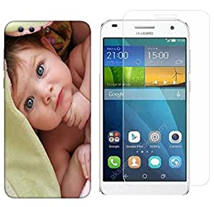 Snoogg Cute Baby Combo Designer Protective Back & Shatter Proof Tempered Glass For HONOR 8